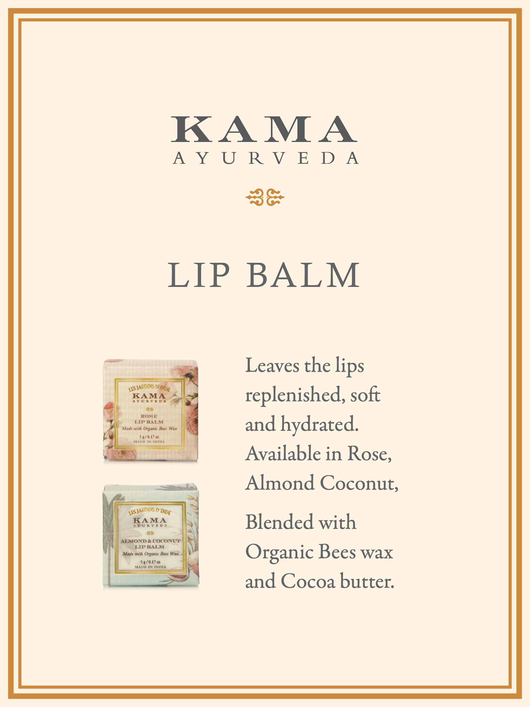 Kama Ayurveda ORGANIC ALMOND AND COCONUT LIP BALM